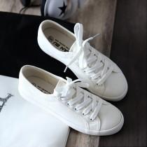 韓妞必備 女小白鞋 皮革小白鞋 懶人鞋 休閒鞋 非帆布鞋 舒適軟底 鞋子 帆布白鞋【AL052】
