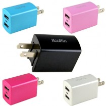 台灣認證 KooPin 超炫LED萬用雙孔USB充電器 5V/2.4A -台灣安規認證