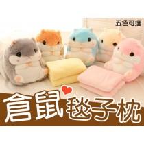 可愛5色超柔倉鼠抱枕 空調毯 抱枕毯 毯子絨毛玩偶 娃娃被子 倉鼠娃娃【AJ009】