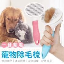 【自動退毛!按摩沾珠】寵物除毛梳 一鍵清理毛髮 寵物針梳 寵物用品 寵物美容 寵物梳 除毛刷 脫毛梳【G3406】