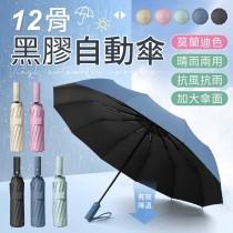 【超強抗風!莫蘭迪色系】十二骨黑膠自動傘 黑膠自動傘 加大自動傘 自動折疊傘 自動傘 雨傘 折疊傘 遮陽傘 晴雨傘 雨具【G3317】